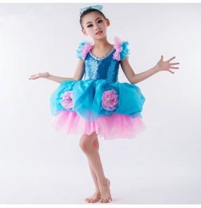 Modern dance jazz Turquoise pink girl's kids children flower girls sequined glitter stage performance jazz ball skirted carnival dancing dresses costumes