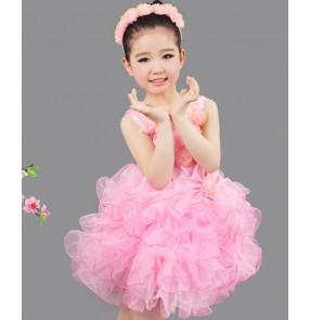 Modern dance light pink girl's kids children jazz singers solo host model flower girls stage performance dance dresses costumes
