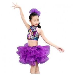 modern dance outfits for Kids violet girl sequined jazz dance dress singers hiphop cheerleaders performance dresses