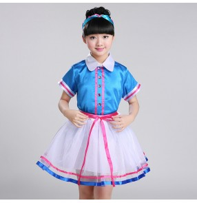 Modern dance singers outfits for kids girls boys turquoise  competition performance chorus school student uniforms costumes