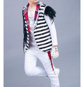 modern dance White and black striped sequined glitter stage performance boy's kids children hiphop jazz singers drummer dancing outfits