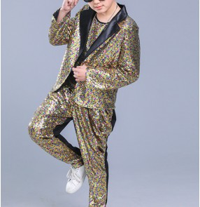 Modern hiphop dance boy's kids children rainbow sequined long sleeves school party competition drummer stage performance singers dancers jazz dancing outfits