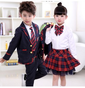 Navy white red plaid England style boy's girl's children school competition chorus stage performance student cosplay dance uniforms costumes