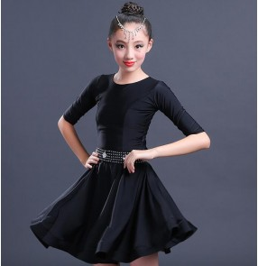Neon violet black Turquoise orange half sleeves competition professional girl's children kids ballroom latin salsa dance dresses costumes