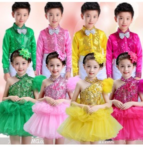 Pink fuchsia green yellow green boy's girl's stage performance modern dance school competition chorus jazz singers dance costumes outfits