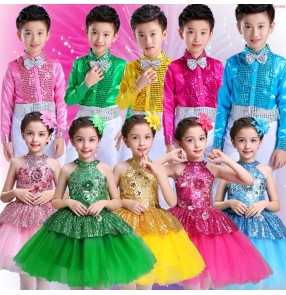 Pink green turquoise yellow fuchsia sequined girl's boys children modern dance princess jazz singers chorus performance costumes outfits