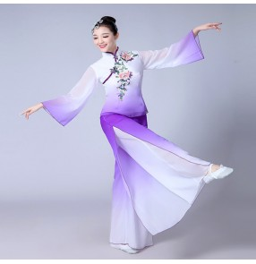 Purple violet gradient colored women's female Chinese folk yangko dance stage performance traditional classical fan dance costumes outfits