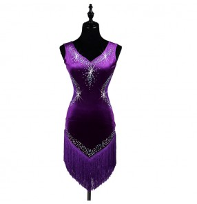 Purple violet velvet rhinestones competition professional women's girl's latin salsa cha cha dance dresses