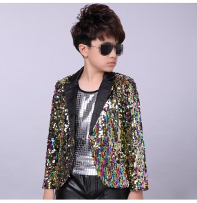 Rainbow sequined boys kids children stage performance jazz singers dancers model show cosplay hip hop dancing jackets blazers