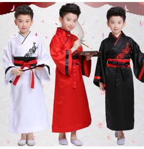 Red black white boy's kids children ancient Chinese folk classical han folk dance kimono film cosplay dresses costumes