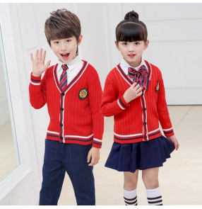 Red blue England style plaid boy's girl's stage cardigans tops and plaid pants performance competition student chorus dance school uniforms outfits