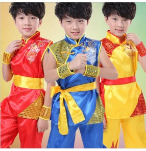 Red blue gold Children Wushu Costume unisex taichi children martial arts performance Uniform Kung Fu Suit Kids Boys Girls Stage Performance Clothing
