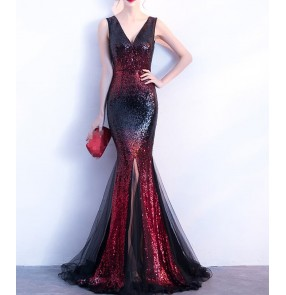 Red gold blue evening dresses women's female long length sexy fashion v neck sleeveless wedding party celebration event evening dress mermaid dresses