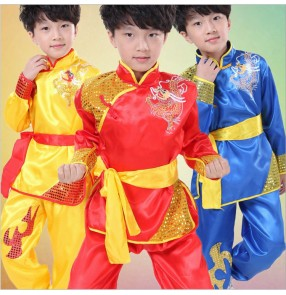 Red gold boy's Chinese folk dance Dragon Totem Tai Chi Kung Fu Martial Arts Children's Dancewear Performance Clothes Stage Costume