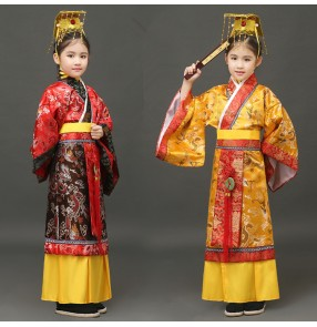 Red gold damask boy's kids children performance ancient Chinese folk dance han dynasty film drama king cosplay dance dresses costumes