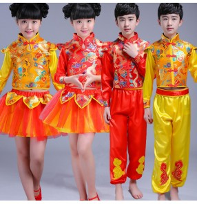 Red gold yellow china dragon style boy's girl's children folk dance drummer performance yangko opening dance boat dancing costumes clothes dresses