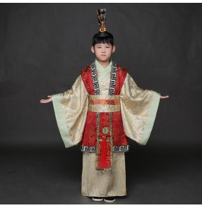 Red gray boy's kids children Chinese ancient traditional folk dance emperor prime minister film performance cosplay photos dresses costumes