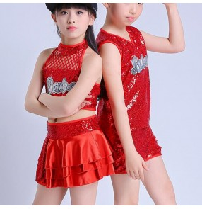 Red kids jazz dance costumes for girls boys modern dance hiphop paillette show performance street cheerleaders dance outfits