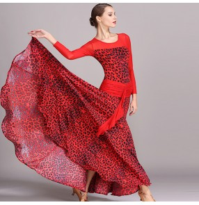 Red leopard printed fashion long sleeves women's girl's competition performance ballroom flamenco dance long dresses