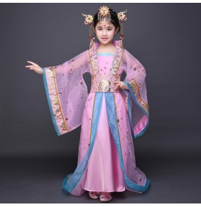 Red pink girl's kids children ancient Chinese folk tang dynasty fairy princess film anime cosplay photos dance dresses costumes