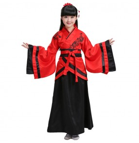 Red purple royal blue white girl's kids children Chinese ancient folk classical fairy princess Kimono anime cosplay dance dresses
