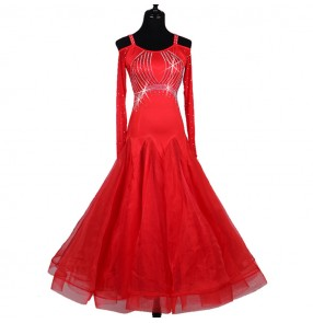 Red rhinestones long sleeves competition professional women's female ballroom tango waltz dance dresses costumes