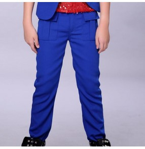 Red Royal blue boys kids children school competition stage performance fashion hip hop jazz drummer dance costumes pants