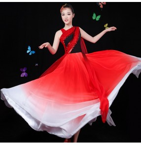 Red royal blue gradient color women's girls film traditional stage performance cosplay classical Chinese folk dance dresses chorus dresses