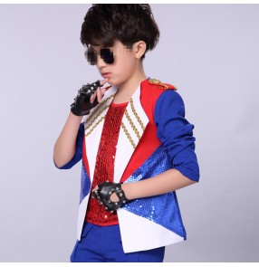 Red royal blue white sequined fashion modern dance boy's kids children hip hop jazz singers dancers drummer dancing coats