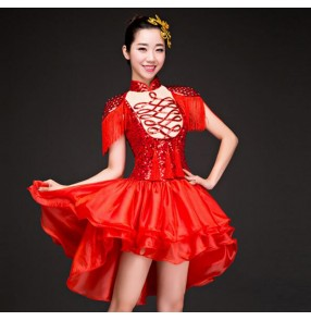 Red sequined glitter fringes modern dance girl's women's jazz singers dancers performance photos solo cosplay dancing dress costumes