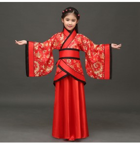 Red with gold damask pattern girl's children Chinese ancient classical folk dance han stage performance fairy princess photos cosplay dancing dresses
