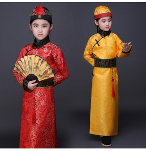 Red yellow gold boy's kids children Chinese folk dance qing dynasty prince landlord drama film performance cosplay costumes dresses