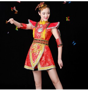 Reg gold damask women's female china chinese style folk yangko drummer dance performance fan dancing costumes dresses