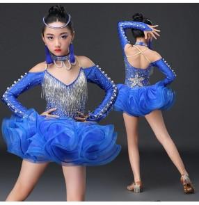 Royal blue fuchsia red rhinestones fringes beads competition professional girl's kids children latin ballroom dance dresses