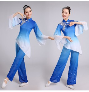 Royal blue gradient colored female Chinese ancient traditional folk dance yangko fan performance dance costumes dresses