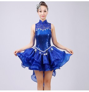 Royal blue lace patchwork sequined modern dance women's girl's jazz singers dancers stage performance photos film cosplay show dancing dresses