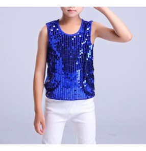 Royal blue Modern dance jazz dance boy's kids children sequined stage performance singers dancers hip hop dance tops vests