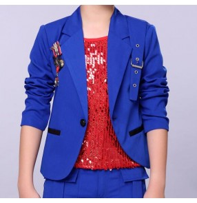 Royal blue red cotton boys kids children modern dance drummer stage performance hip hop singers dancers coat blazers