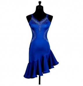 Royal blue rhinestones backless girl's women's competition ruffles skirts professional latin cha cha rumba salsa dance dresses
