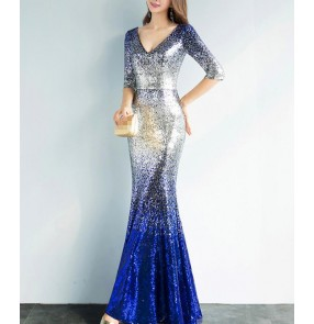Royal blue silver gradient colored half sleeves women's female competition performance cocktail party wedding celebration host evening dresses
