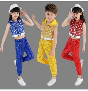 Royal blue yellow gold red sequined paillette girl's boy's modern dance hip hop jazz singers performance dancing outfits costumes