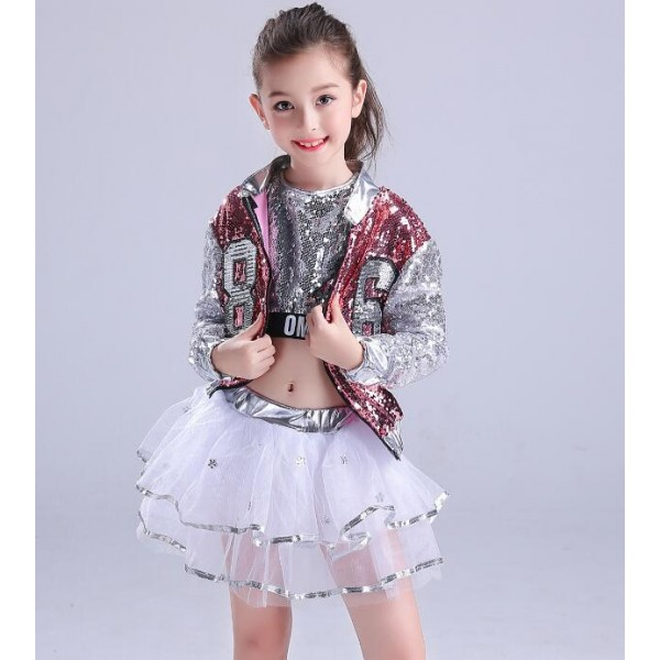 49f94efc1504 Sequined girls children modern dance hiphop jazz dance costumes ...