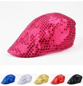 Sequined Jazz dance hats cap for boys girls and women men's  performance hiphop singers street dance jazz dance hats beret caps
