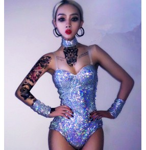 Silver glisten sequined women's singers dancers dj ds night club jazz stage performance dance bodysuit leotards costumes outfits