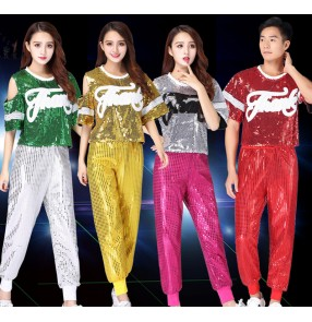 Silver gold fuchsia royal blue Red sequined glitter modern dance girl's growth women's cheer leading model jazz hip hop dancing costumes