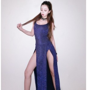 Silver gold royal blue glisten women's female singers lead dancers cheer leaders competition model stage performance leotards long dresses