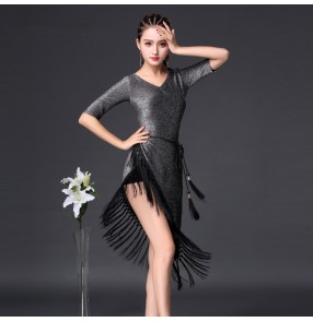 Silver gray glisten half sleeves v neck fringes tassels competition stage performance women's rumba salsa cha cha latin dance dresses
