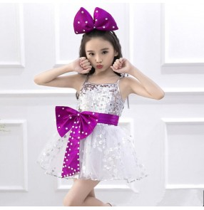 Silver purple patchwork turquoise girl's kids children new year celebration modern dance singers jazz performance paillette princess dance dresses outfits