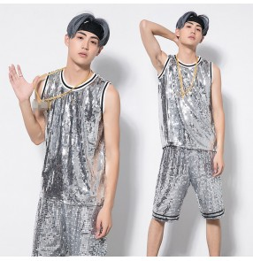 Silver sequined fashion boy's growth men's modern street dance hip hop singers ds dj performance competition tops vests shorts