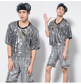 Silver sequined glitter fashion men's growth school competition cheerleader hiphop jazz singers dancers dance costumes t shirt shorts